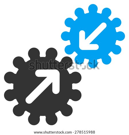Integration icon from Business Bicolor Set. This isolated flat symbol uses modern corporation light blue and gray colors. - stock vector