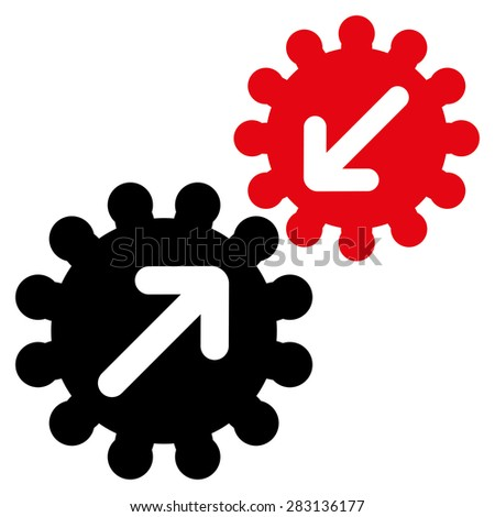 Integration icon from Business Bicolor Set. Vector style: bicolor flat symbol, intensive red and black colors, rounded angles, white background.