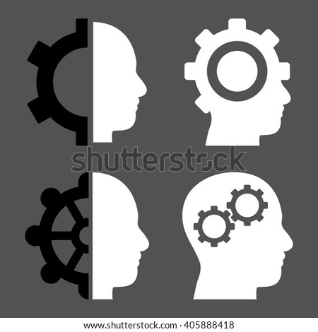 Intellect Gears vector icons. Style is bicolor black and white flat symbols on a gray background. - stock vector
