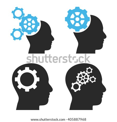 Intellect Gears vector icons. Style is bicolor blue and gray flat symbols on a white background. - stock vector