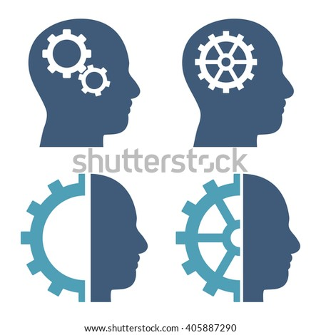 Intellect Gears vector icons. Style is bicolor cyan and blue flat symbols on a white background. - stock vector