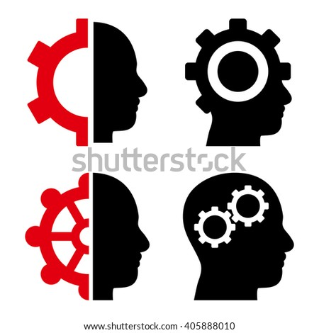 Intellect Gears vector icons. Style is bicolor intensive red and black flat symbols on a white background. - stock vector