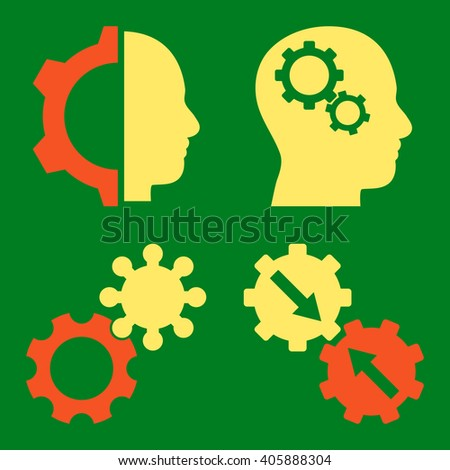 Intellect Gears vector icons. Style is bicolor orange and yellow flat symbols on a green background. - stock vector