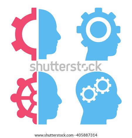 Intellect Gears vector icons. Style is bicolor pink and blue flat symbols on a white background. - stock vector