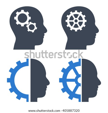 Intellect Gears vector icons. Style is bicolor smooth blue flat symbols on a white background. - stock vector