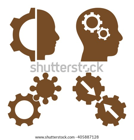 Intellect Gears vector icons. Style is brown flat symbols on a white background. - stock vector
