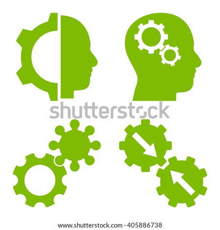 Intellect Gears vector icons. Style is eco green flat symbols on a white background. - stock vector