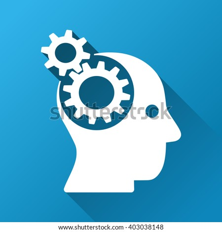 Intellect Gears vector toolbar icon for software design. Style is a white symbol on a square blue background with gradient long shadow. - stock vector