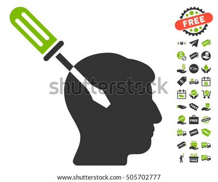 Intellect Screwdriver Tuning pictograph with free bonus icon set. Vector illustration style is flat iconic symbols, eco green and gray colors, white background.