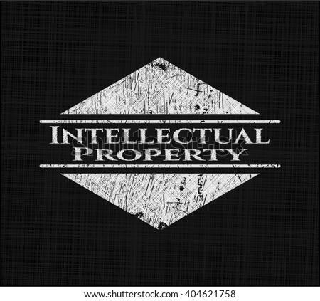 Intellectual property chalk emblem written on a blackboard - stock vector