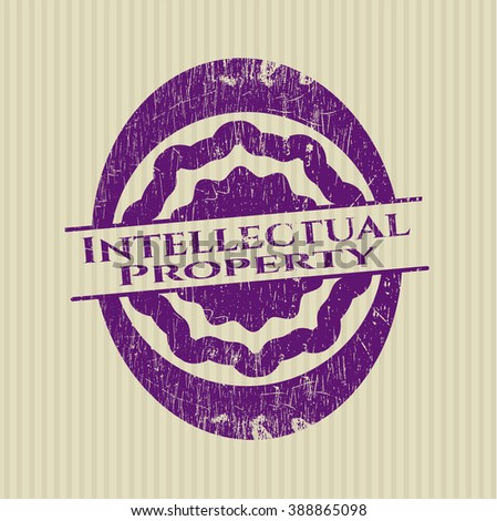 Intellectual property grunge style stamp - stock vector