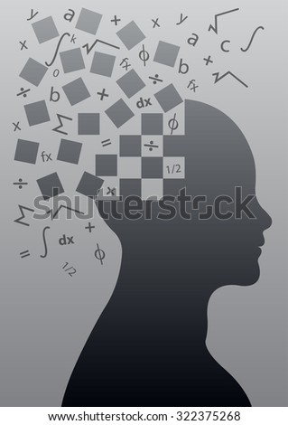 Intelligence,Brightness and Smartness concept by Brain processing ability with human head and mathematics symbol, vector illustration - stock vector