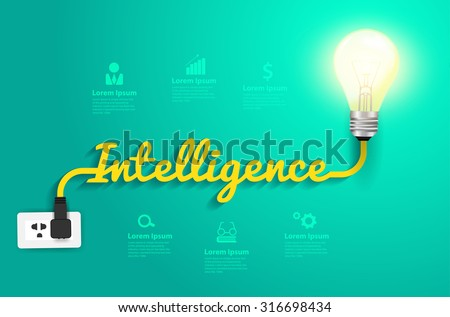 Intelligence concept with creative light bulb idea, Vector illustration modern design template - stock vector