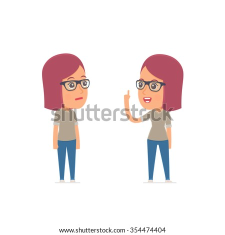 Intelligent Character Girl Designer learns and gives advice to his friend. Poses for interaction with other characters from this series - stock vector
