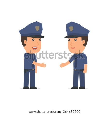 Intelligent Character Officer concludes business contract with his partner. Poses for interaction with other characters from this series