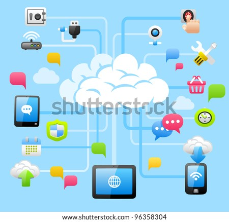 Intelligent Cloud Computing - stock vector