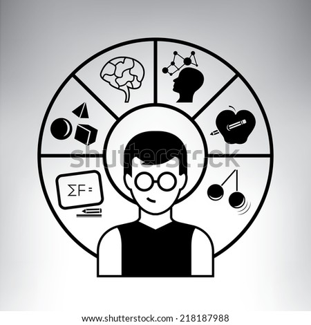 intelligent kid, education concept - stock vector