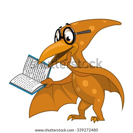 Intelligent pterodactyl reading a book - stock vector