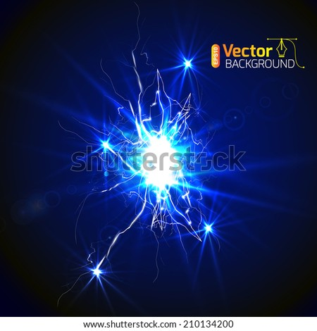 Intense electrical discharge on a dark background  - stock vector