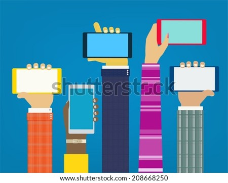 Interaction hands using mobile apps. Stylish concept for web and mobile  - stock vector