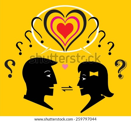 Interaction. Two question mark transformed to one heart shape. Interaction process between man and woman to know each other. Boy and girl introduce their self to know each other.  United in one love. - stock vector