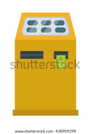Interactive information kiosk payment terminal. Payment terminal vector illustration. Kiosk bank service information interactive business, computer touch screen display payment terminal. - stock vector