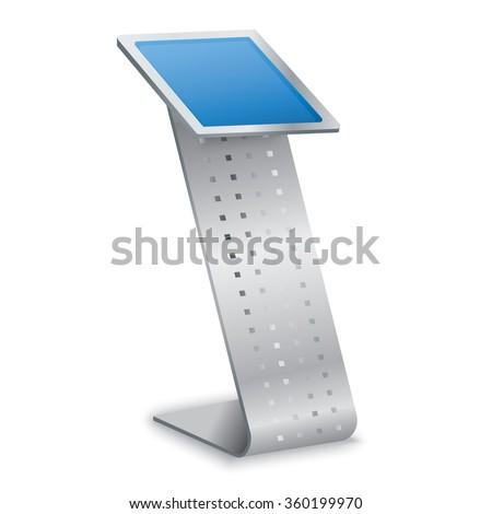 Interactive Information Kiosk Terminal Stand - stock vector