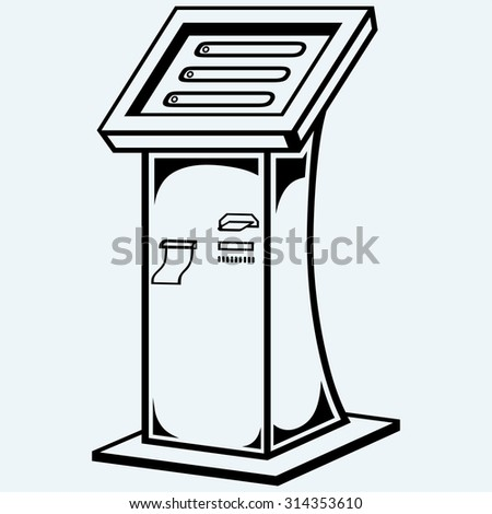 Interactive information kiosk. Terminal stand screen display console infokiosk. Isolated on blue background