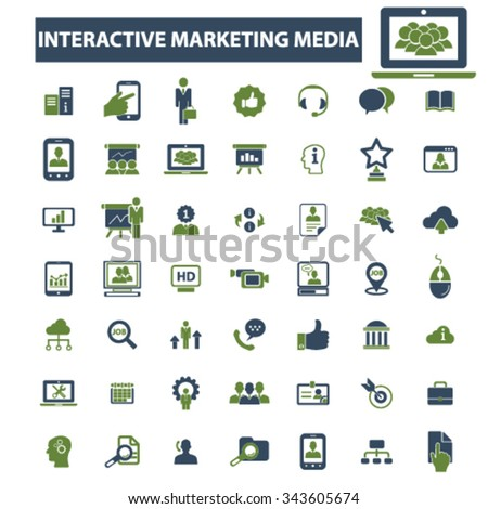 interactive marketing, market icons, signs vector concept set for infographics, mobile, website, application  - stock vector