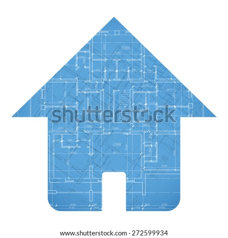 Interesting architectural house plan in unique style. Vector illustration - stock vector