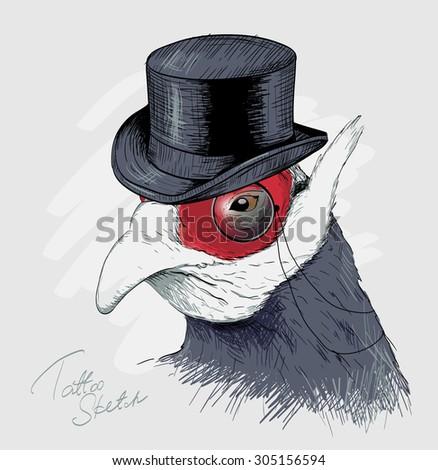 Interesting bird in black top hat and monocle. Sketch. - stock vector