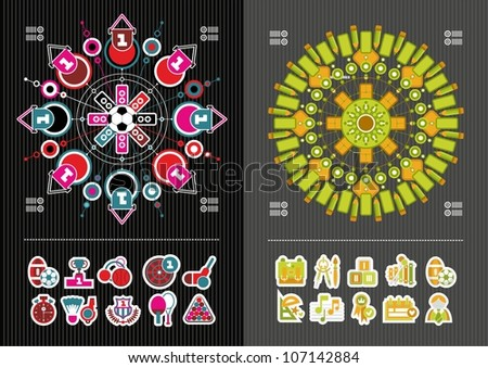 interesting icons and infographics - stock vector