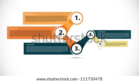 Interesting presentation with five text box - stock vector