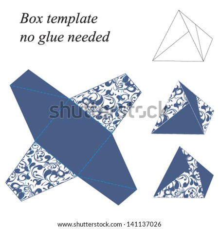 Interesting Pyramid Box Template With Floral Pattern No Glue Needed Vector Illustration
