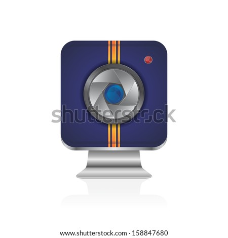 interface blue camera lens icon application