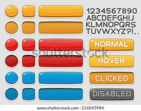 Interface buttons set for games or apps. Vector illustration. Easy to edit. Isolated on white - stock vector