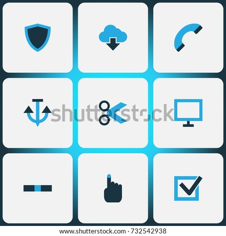 Interface Colorful Icons Set. Collection Of Phone, Problem, Minus And Other Elements. Also Includes Symbols Such As Hand, Iron, Anchor.