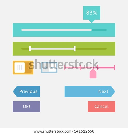 Interface elements in flat design style - stock vector