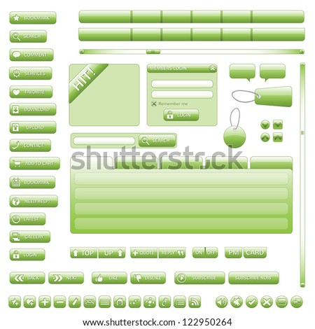 Interface Elements Web Site (Green) - stock vector