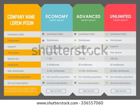 Interface for the site. ui ux vector banner for web app. Pastel pricing table, banner, order, box, button, list and bullet with plan for website in flat design - stock vector