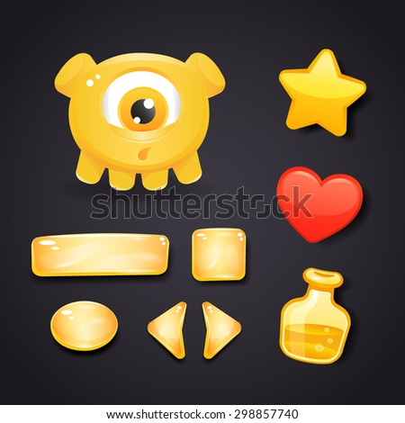 Interface icons and buttons for game design with resources set and monster - stock vector