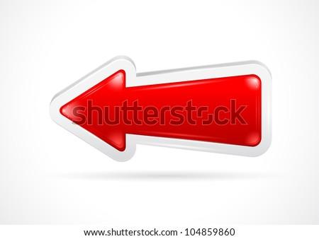 interface menu red arrow - stock vector