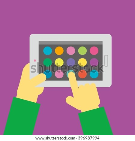 Interface of app on tablet screen. Hand hold smartphone. Modern concept for web banners, web sites, infographics. Creative flat design template vector illustration