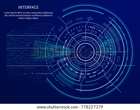 Drawing Lines With Arrows In Photo : Interface poster text sample title circular stock vector