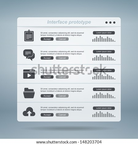 Interface prototype. Vector illustration. Eps 10. - stock vector