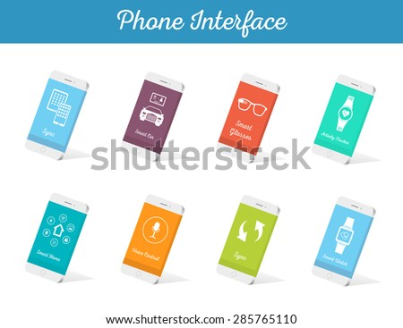 Interface vector 3D smartphone with software, applications, and ways to connect portable gadgets and devices. Set of sign and icons - Stock Vector - stock vector