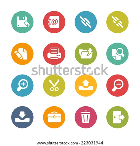 Interface web Icons // Fresh Colors Series ++ Icons and buttons in different layers, easy to change colors ++ - stock vector
