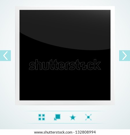 Interface with used old photo frame. EPS 10 vector illustration. Used transparency layer of frame - stock vector