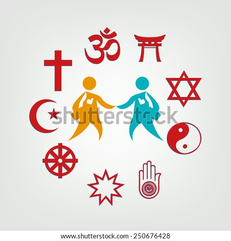 Interfaith Dialogue illustration. Religious symbol surrounding two persons. - stock vector