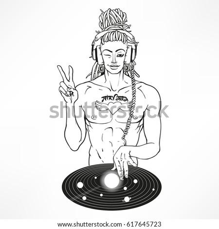intergalactic dj buddha super star with tattoo nirvana hippie sexy nan showing peace sign